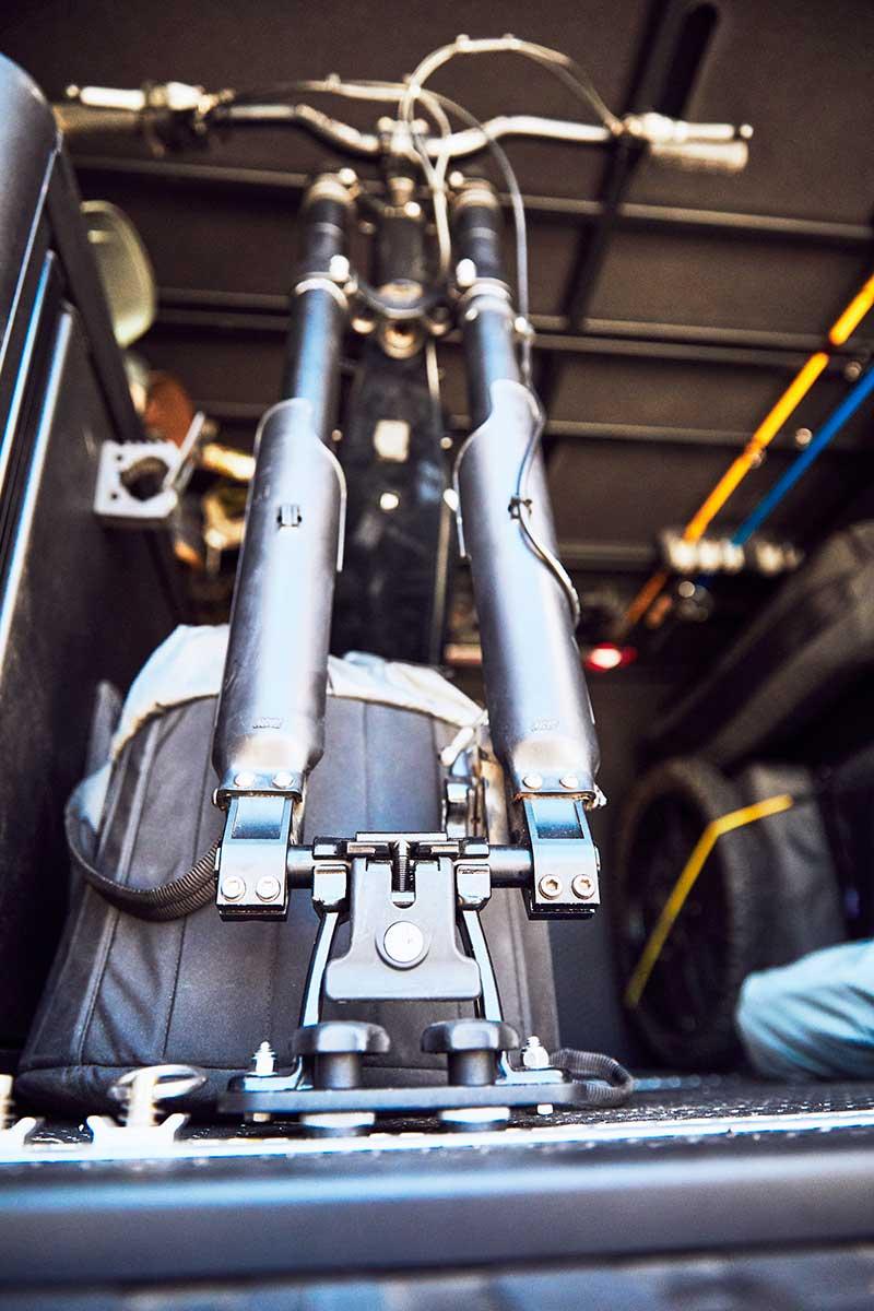 e-bikes store easily in the van's rear storage garage