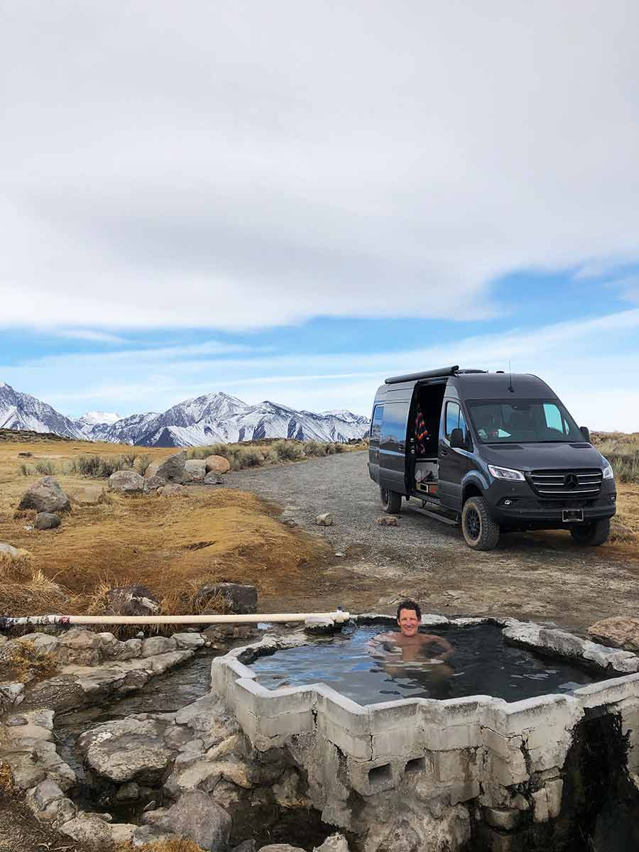 parking our van near some hot springs in Mammoth, CA
