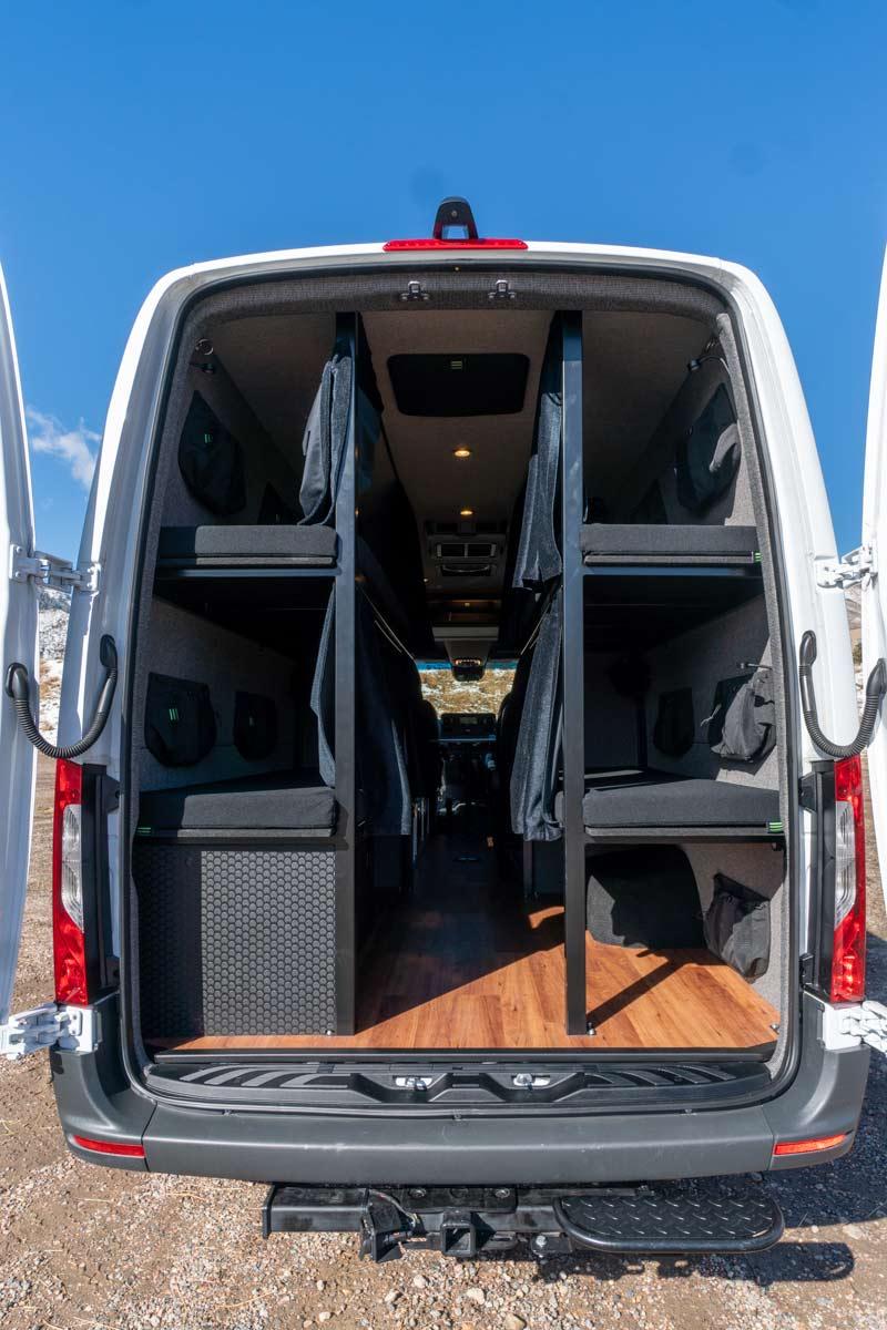 Rear view of BHTM's Sprinter van buildout